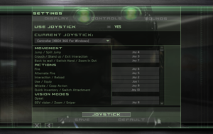 In-game joystick settings.