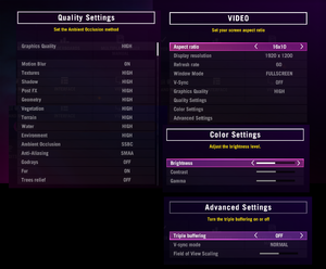 Video and graphics settings.