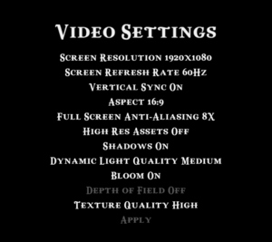 Video settings with High Res Assets disabled (using Caspian_LR.exe)