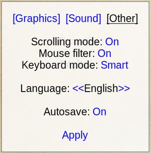 In-game misc settings menu.