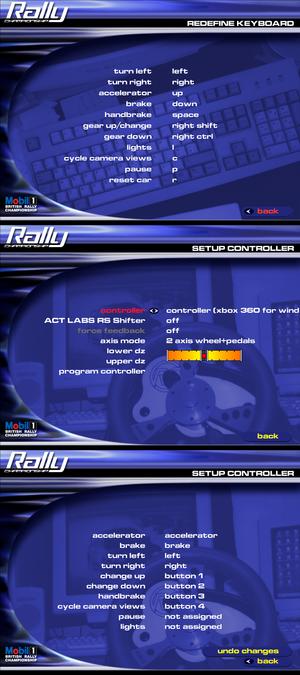 Keyboard and controller settings menus.
