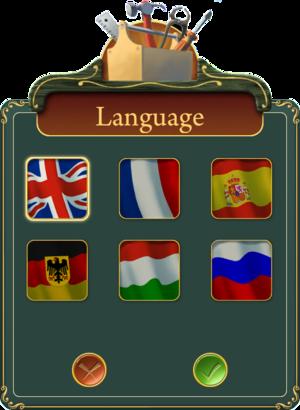 Language settings.