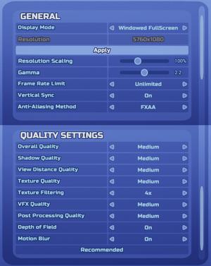 Display and graphics options.