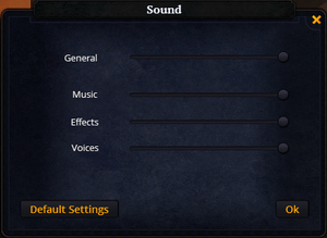 Sound settings.