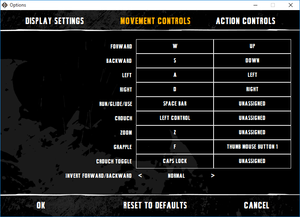External movement commands key map settings.