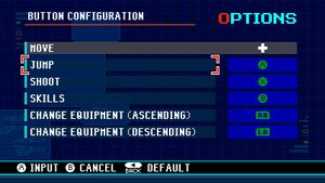 Gamepad mapping menu.