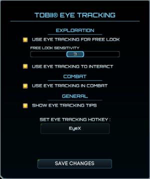 Tobii Eye Tracking settings.