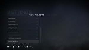 In-game mouse/keyboard settings (2/2).