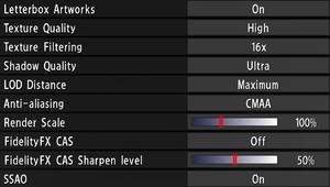 Advanced graphics settings