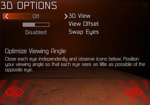 In-game 3D settings.