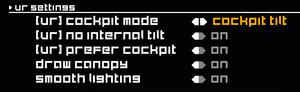 VR settings.