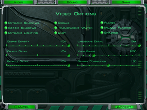 Video settings (in-game).