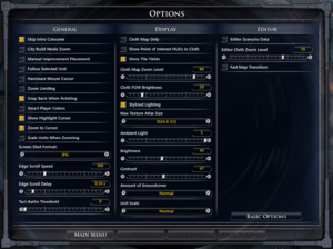 In-game advanced settings.