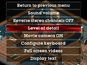 In-game video options menu.