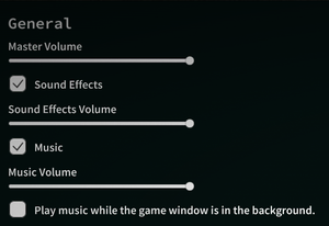 Audio options (from General Settings).
