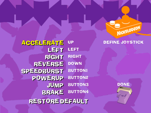 Joystick config screen.