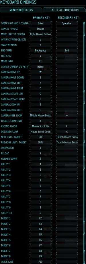 In-game input settings, tactical bindings.[Note 1]