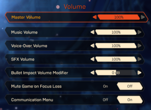 Volume settings