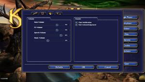Audio options menu.