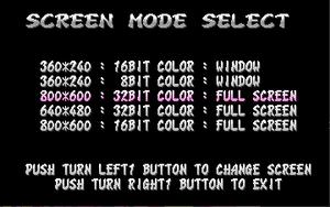 Graphics options menu