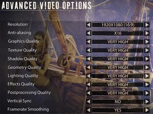 Advanced video options.