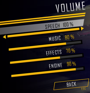 Volume options.