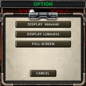 """Resolution settings. Accessed through """"Window option"""" instead of """"Option"""" from main screen."""