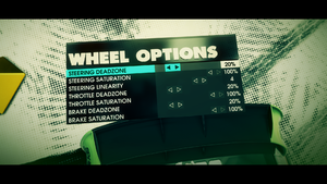 Driving wheel settings.