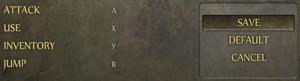 In-game gamepad control settings.