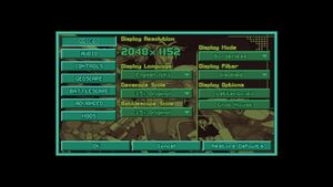 OpenXcom in-game video settings.