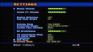 In-game video/audio settings.