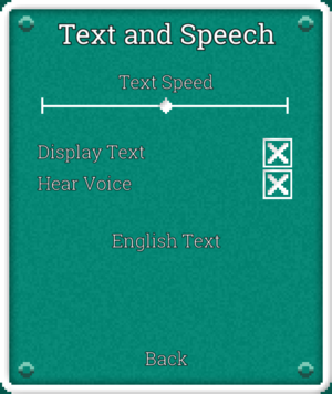 Text and Speech settings.