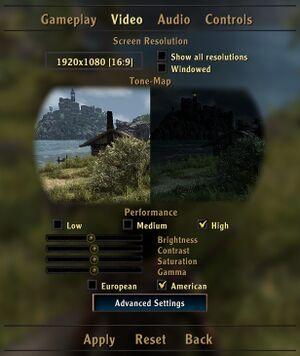 General graphics settings.