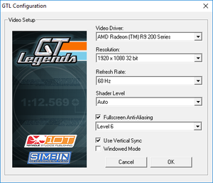 Video settings (GTLConfig.exe).