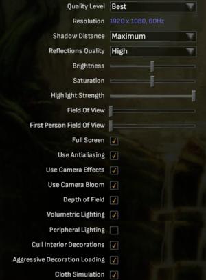 Graphics options.