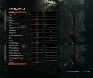 In-game remapping settings.