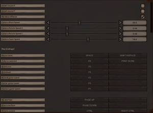 Control settings and keybindings.
