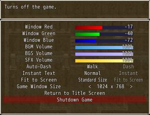 General game settings.