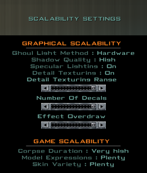 In-game scalability settings.