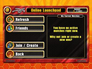 Main multiplayer interface. From here players can continue matches waiting for their turn, find matches to join, host a new match or challenge users added to their friends list.