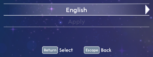 Language settings.