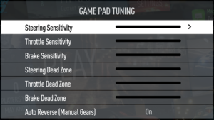In-game input settings, gamepad.