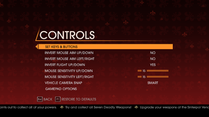 In-game control settings (for keyboard/mouse).