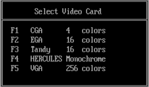 In-game video settings (VGA/Tandy update).