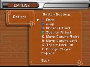 Control settings; English text patch used, otherwise Korean would be used.