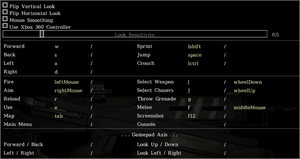 In-game mouse/keyboard settings.