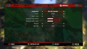 In-game general gamepad settings.