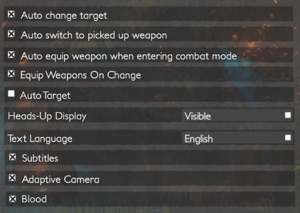 In-game gameplay settings.