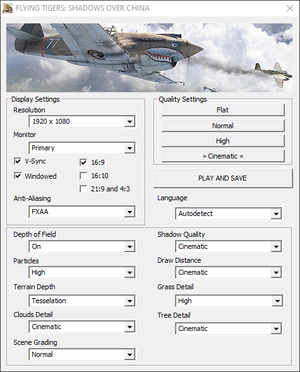 Settings in the game's launcher.