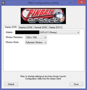 DirectX 9 display settings.